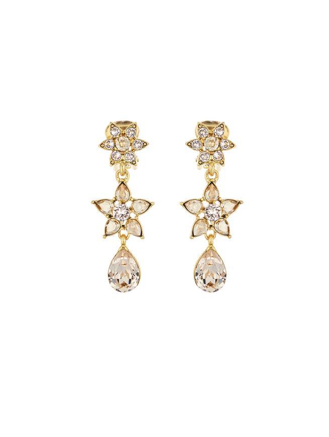 Flower Crystal Drop Earrings  Cry Gold Shadow