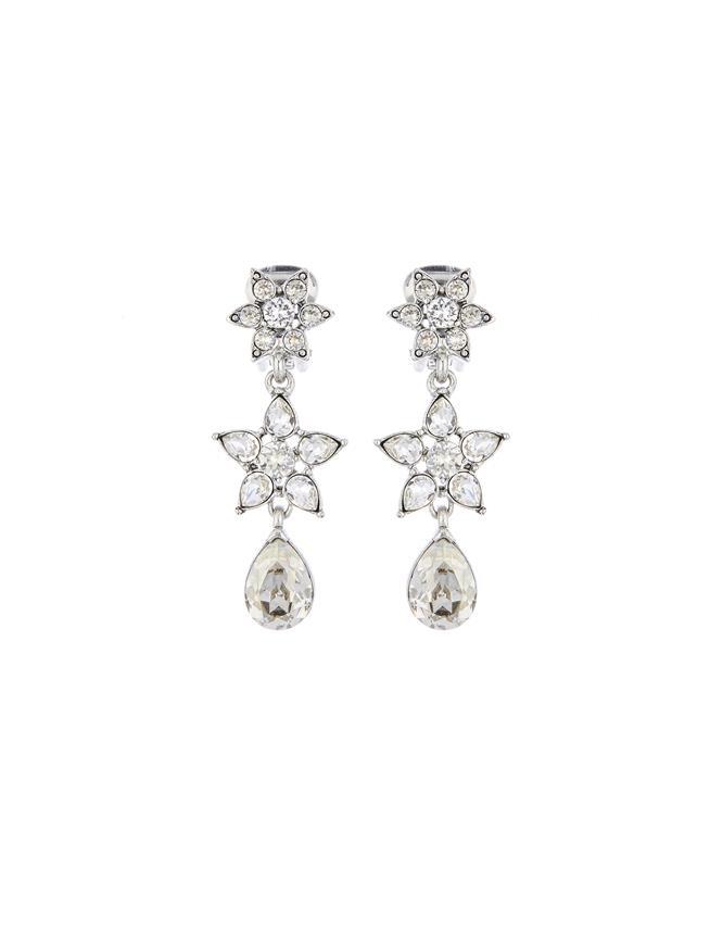 Flower Crystal Drop Earrings  Cry Shade/Silver