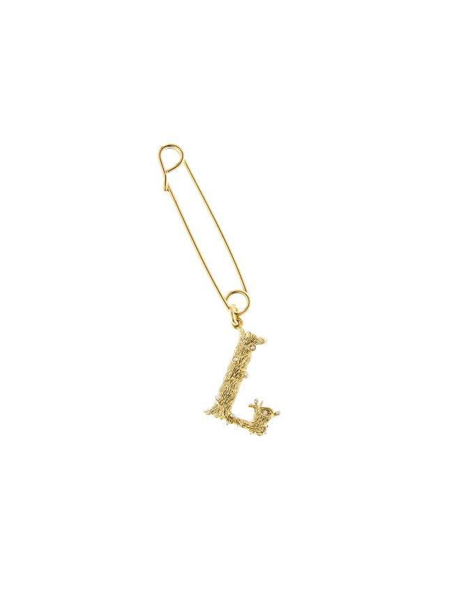Letter L Brooch Gold