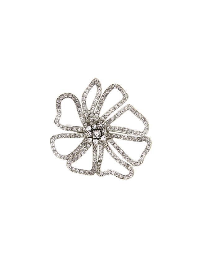 Pavé Flower Brooch Crystal
