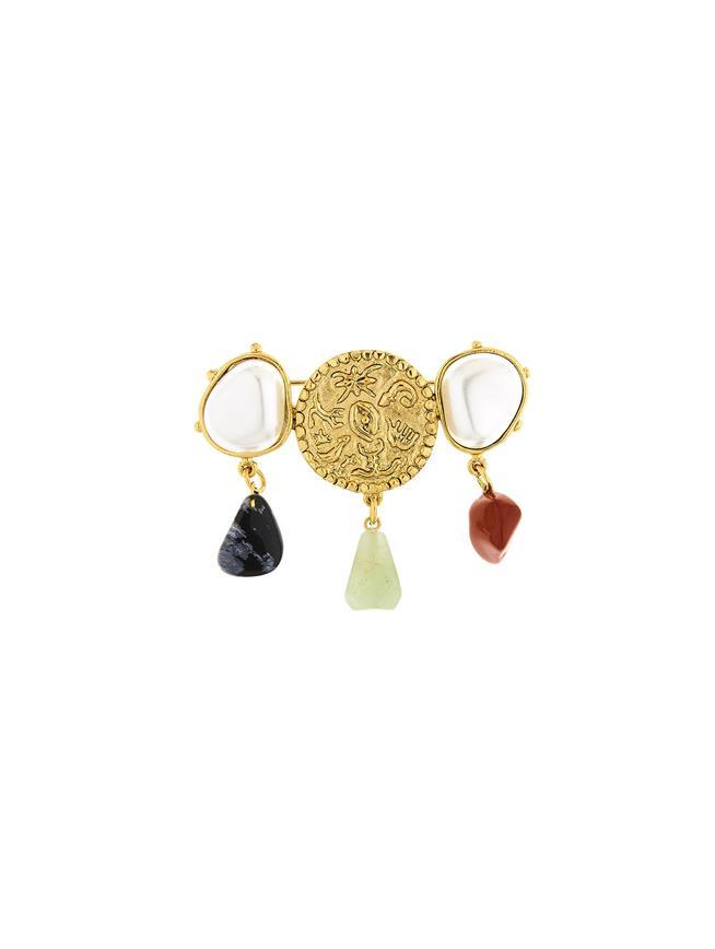 Coin & Semi-Precious Stone Brooch Gold