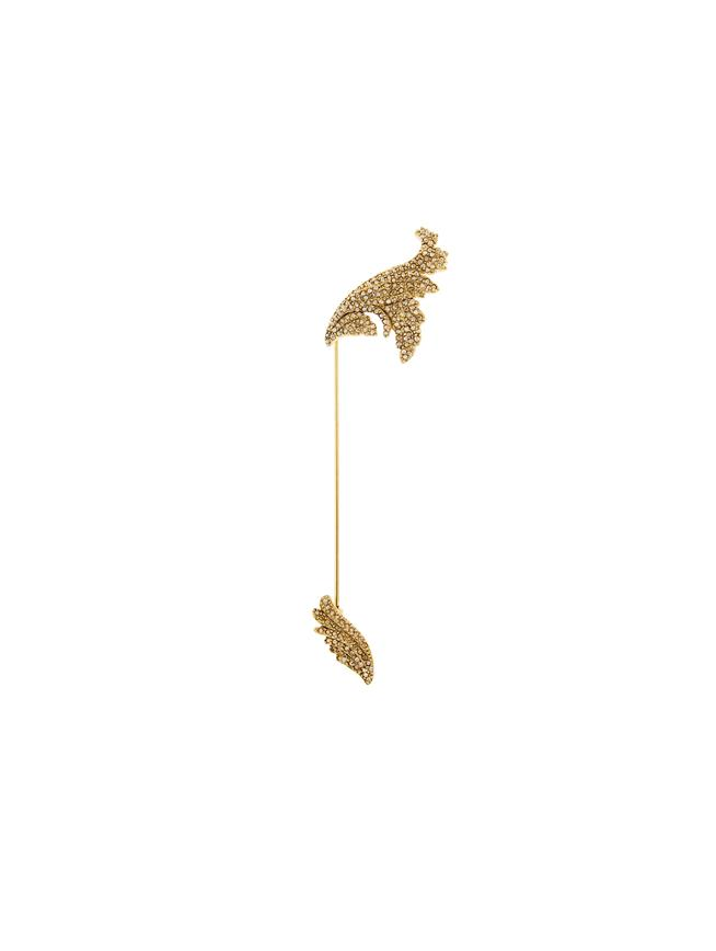 Pavé Leaf Brooch Cry Gold Shadow