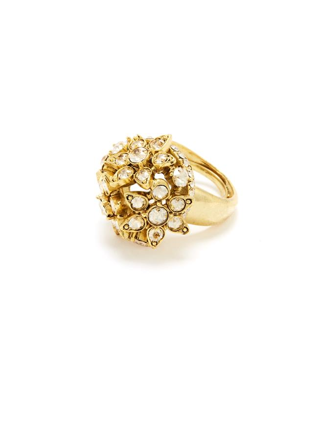 Flower Crystal Ring Cry Gold Shadow