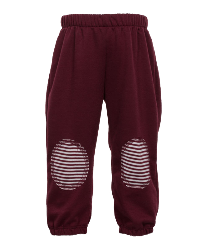 maroon white infant sweat pants with knee patches maroon white