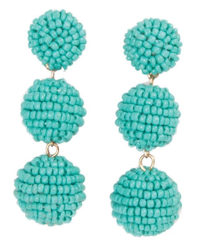 Seed Bead Ball Drop Earrings