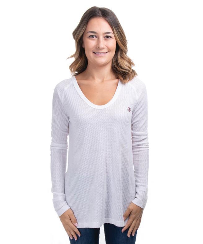 e0250ac2595719 Texas A M Womens Cross Back Waffle Top White | Aggieland Outfitters