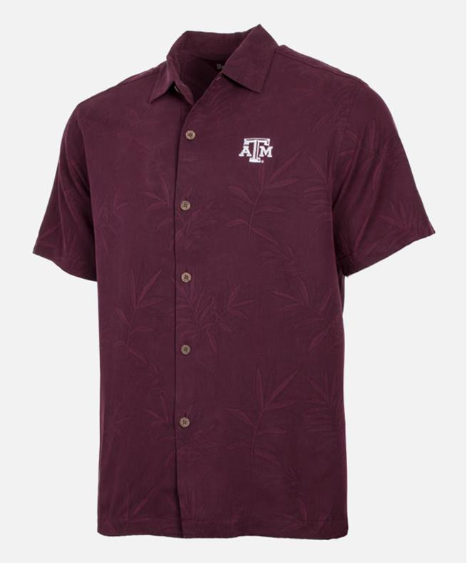 Tommy Bahama Texas A M Luau Fl On Down Shirt Maroon Berry Aggieland Outers