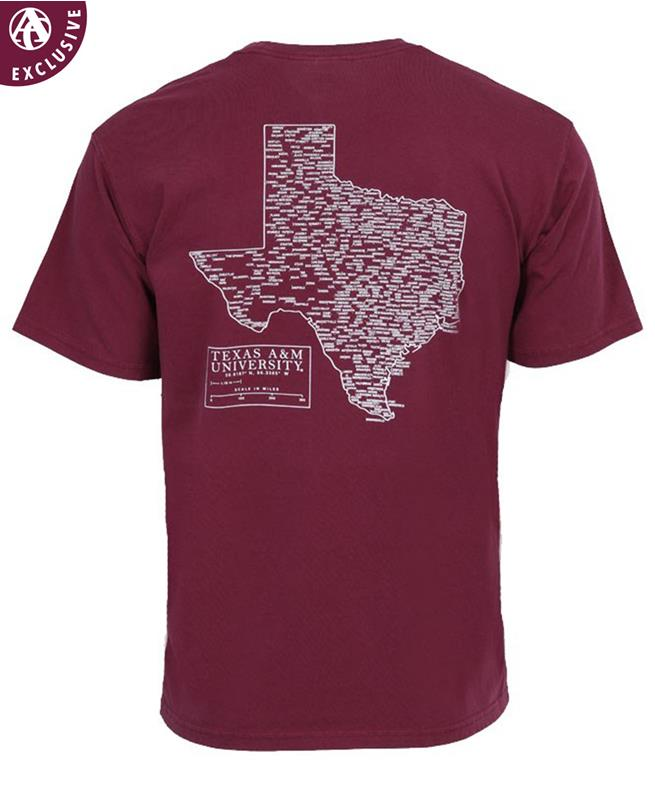 8c30e613d Texas A M City Town Coordinates T Shirt Maroon   Aggieland Outfitters