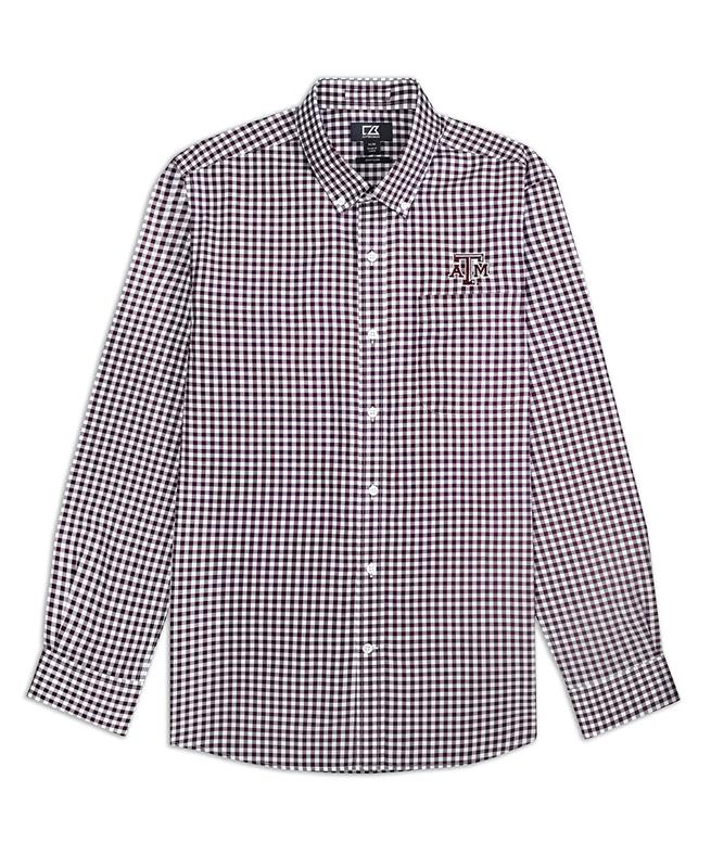 deef6f246 Texas A&M Cutter & Buck Long Sleeve Gingham Button Down Maroon/White |  Aggieland Outfitters