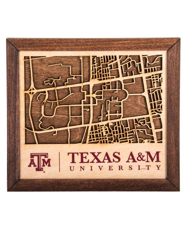 Campus Map Texas Am.Texas A M Collegiate Campus Map Wood Aggieland Outfitters