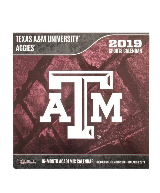 Texas A&M Academic Calendar 2019 Texas A&M Aggies 2019 Team Wall Calendar Maroon | Aggieland Outfitters