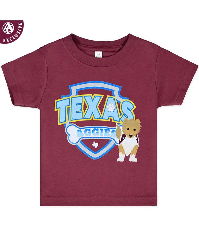 bcd683c1f Exclusive! Your browser does not support HTML5 video. Texas A&M Aggies  Reveille Shield Toddler Tee - Front Texas A&M ...