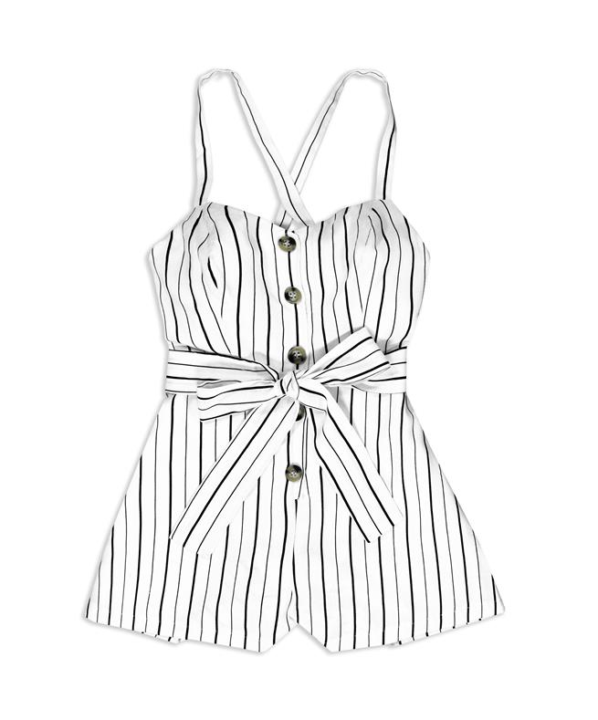 0b6a0b58c0 OFF WHITE/BLACK BUTTON AND BELTED ROMPER OFF WHITE/BLACK | Aggieland  Outfitters