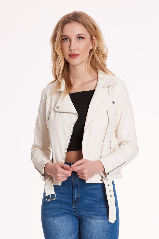 d17038cf Faux Leather Moto Jacket WHITE | Discovery Clothing