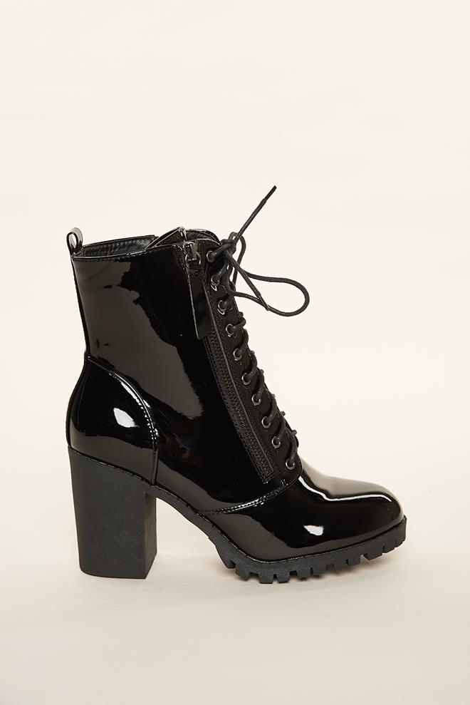 95ee48aa532 Faux Patent Leather Combat Boots