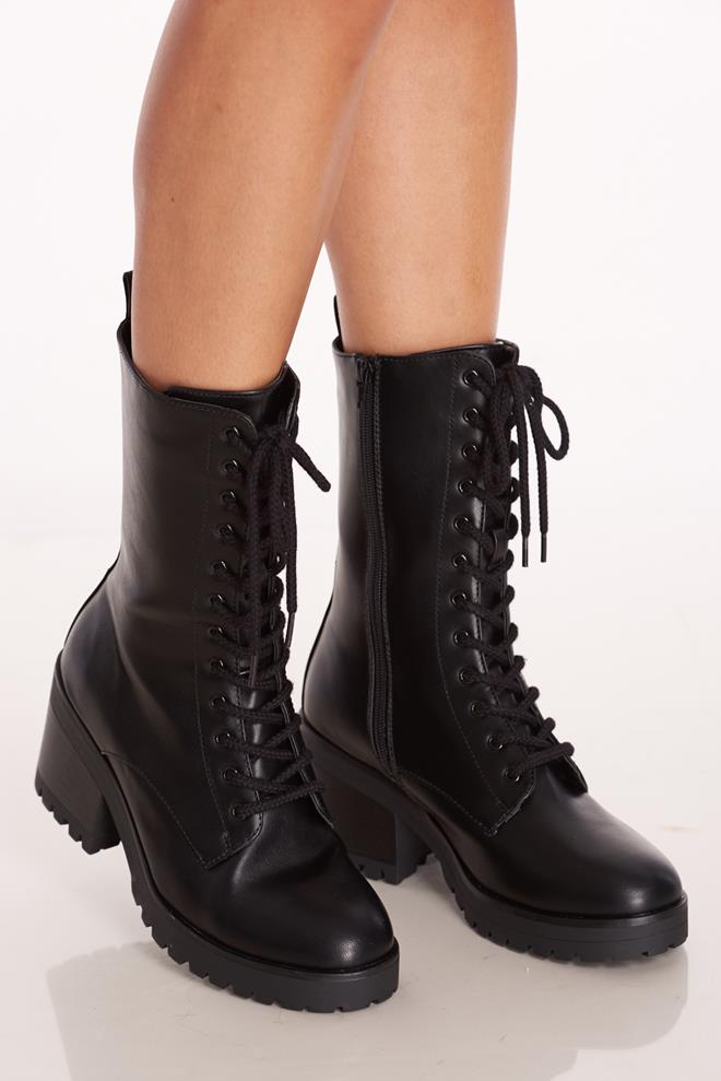 07e5bde2732 Faux Leather Combat Platform Boots