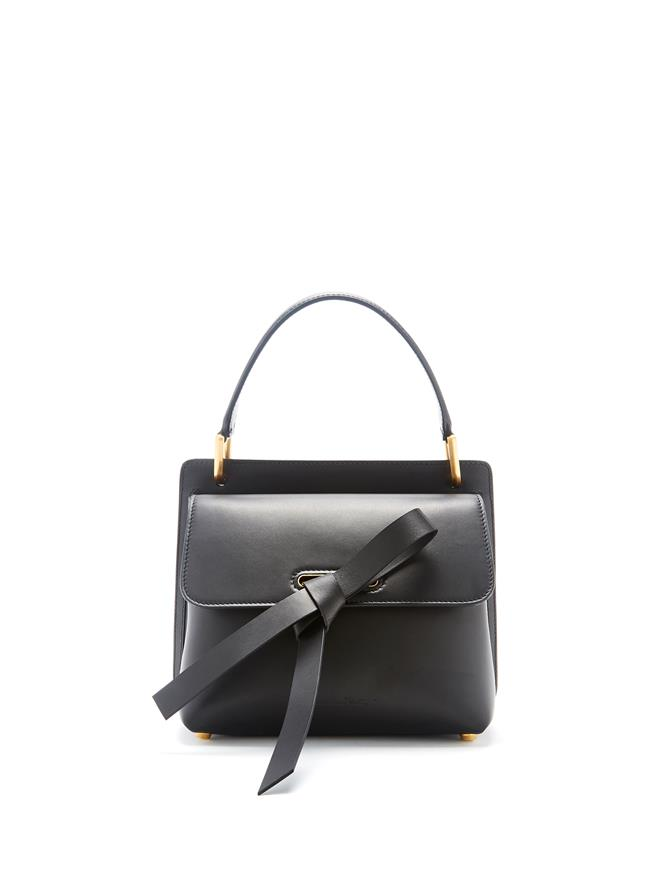 Black Leather Caveat Bag  Black
