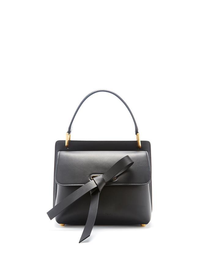 Black Leather Caveat Bag  Black