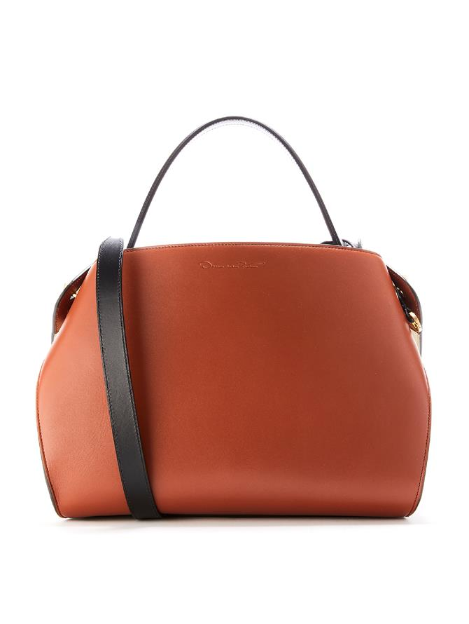 Two Tone Leather Nolo Bag Black/Cognac