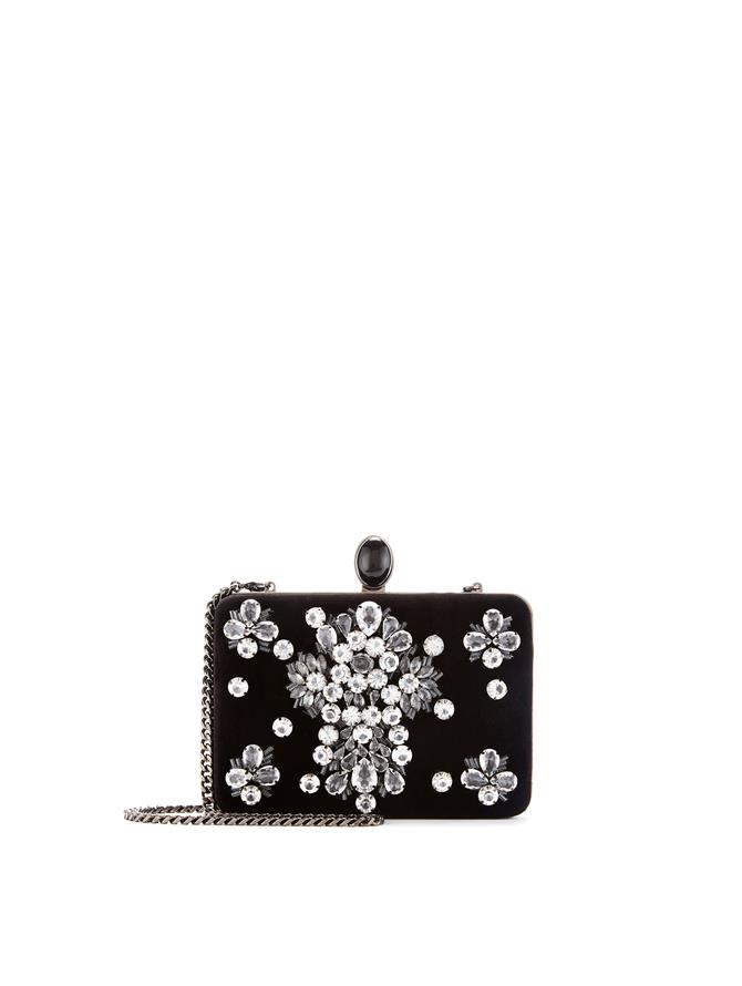 Embellished Velvet Rogan Clutch  Black
