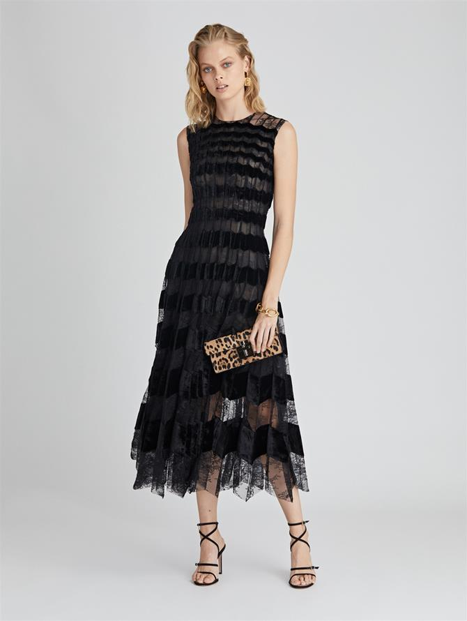 Chantilly Floral Lace and Velvet Cocktail Dress  Black