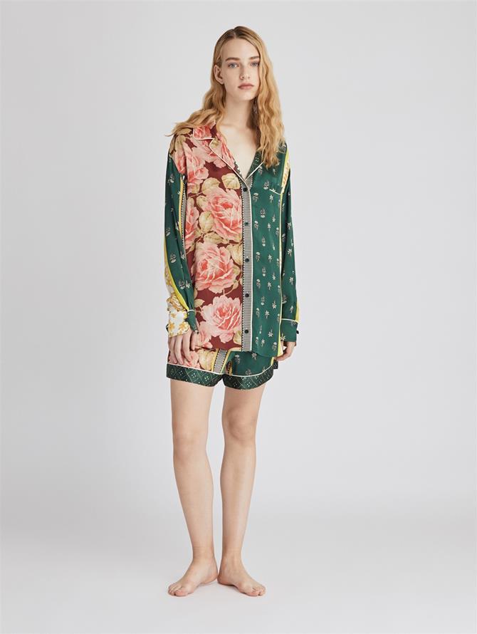 Patchwork Stripe Satin Crepe Pajama Short