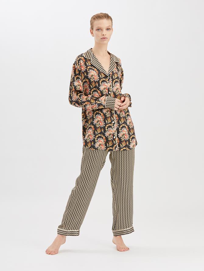 Stripey Dots Satin-Crepe Pajama Pant