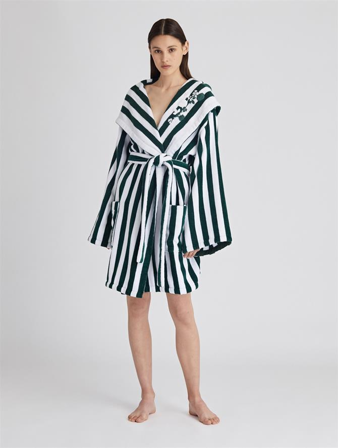 Striped Cotton Terry Hooded Robe