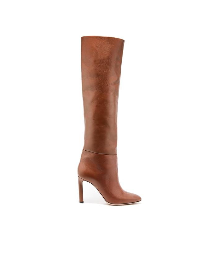 Cognac Leather Margot Knee-High Boot