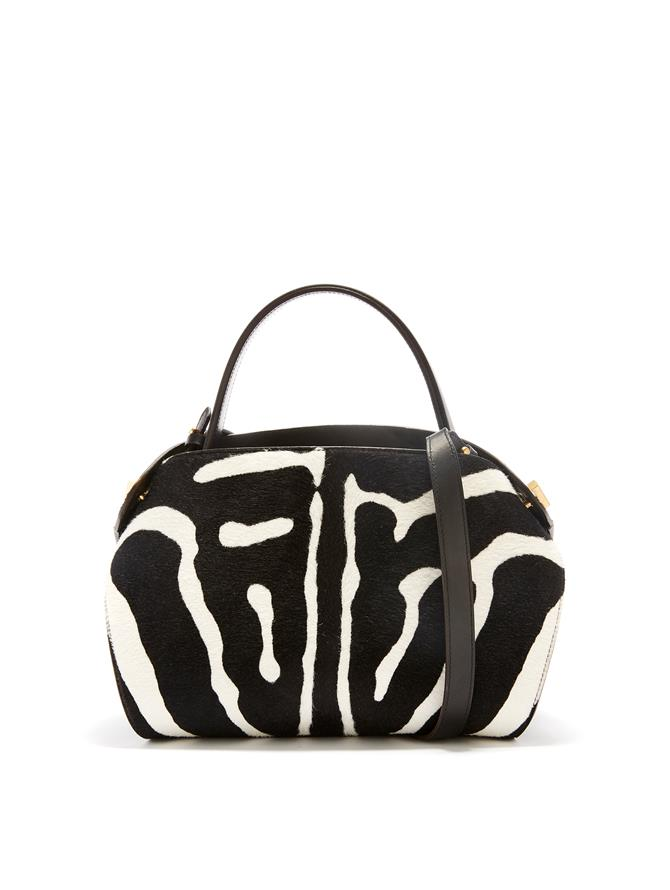 Printed Calf Hair Baby Nolo Bag Black/White