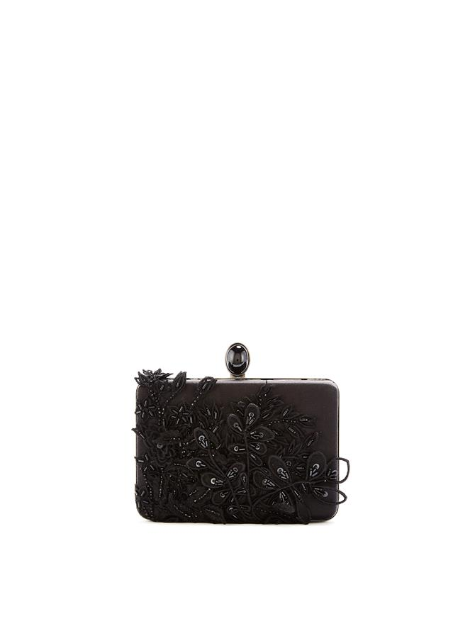 Sequin-Embroidered Silk Rogan Clutch Black