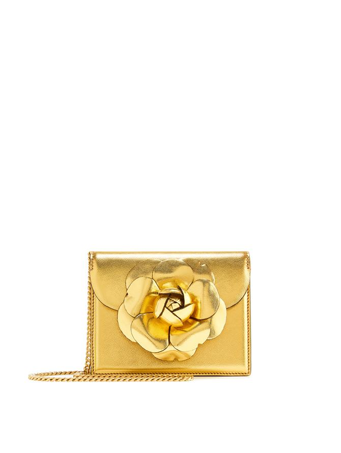 Gold Saffiano Mini TRO Bag  Gold