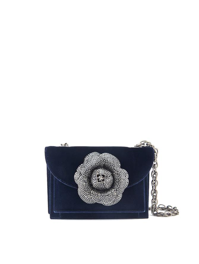 Navy Velvet TRO Bag Navy w/ Crystal