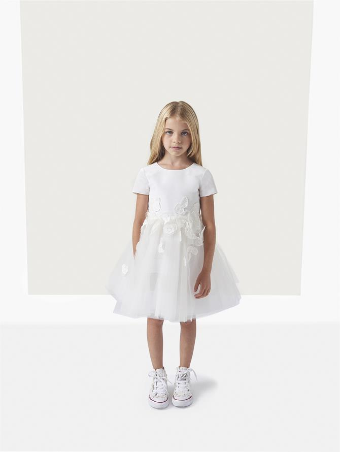 Silk Faille Tulle Embroidery Flower Girl Dress