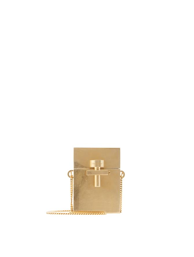 Gold Metal Mini Alibi Bag Gold
