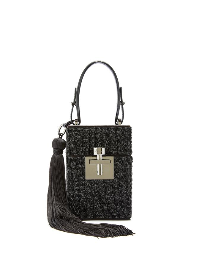 Beaded Satin Alibi Bag Black