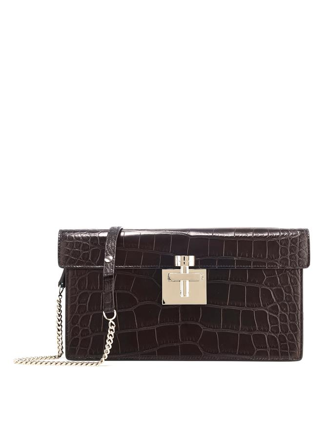 BLACK ALLIGATOR ALIBI CLUTCH