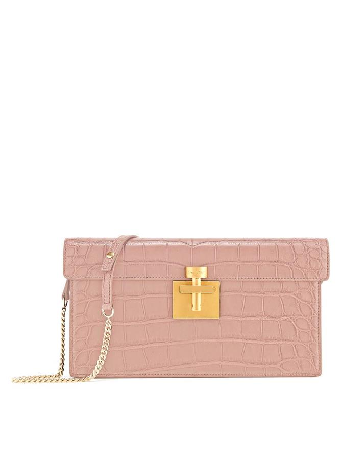 BLUSH ALLIGATOR ALIBI CLUTCH Blush