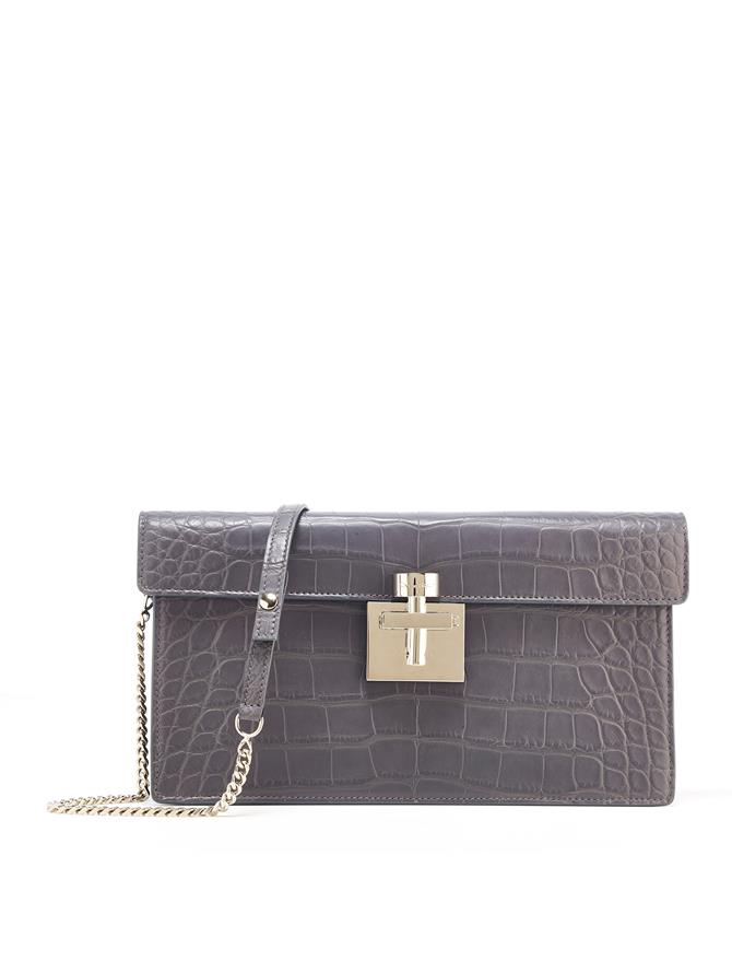 GREY ALLIGATOR ALIBI CLUTCH Grey