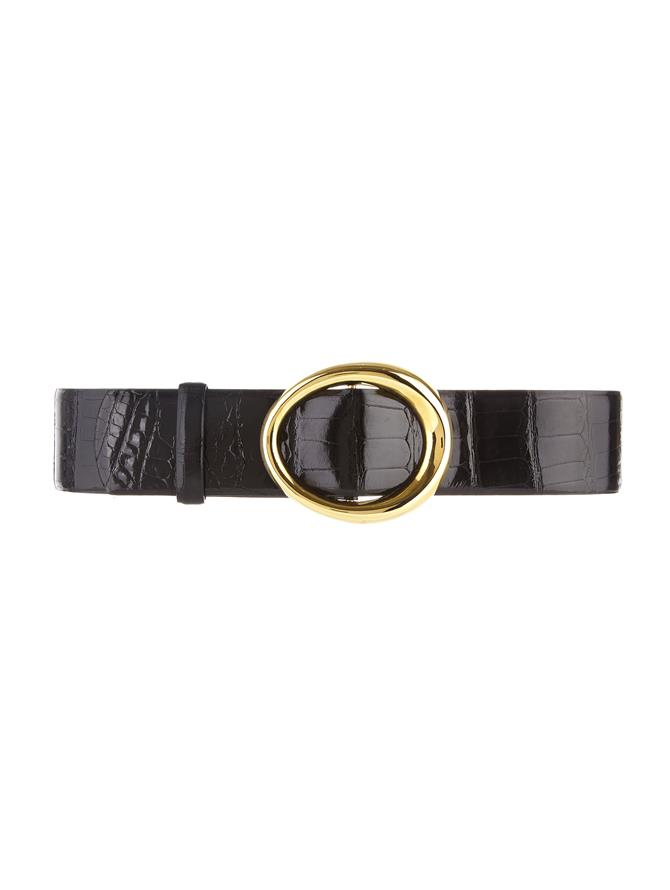 BLACK SMALL OVAL ALLIGATOR WAIST BELT