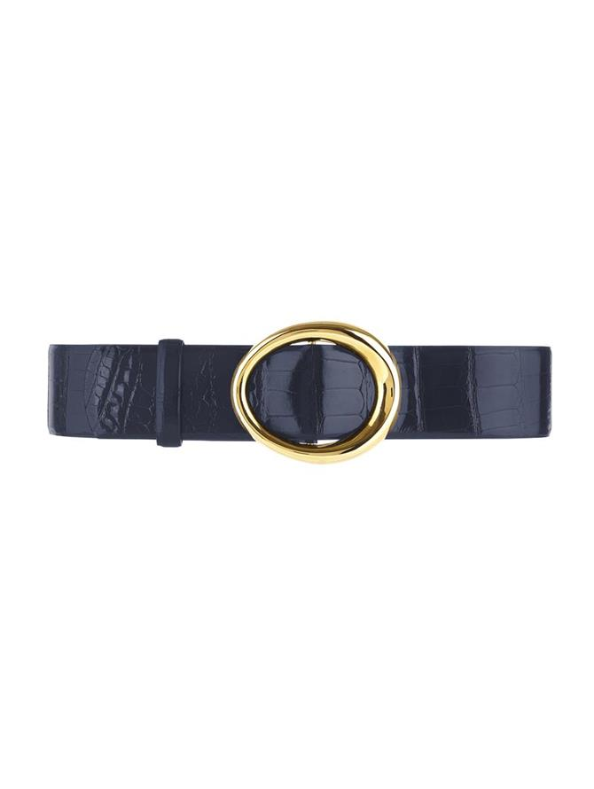 NAVY SMALL OVAL ALLIGATOR WAIST BELT
