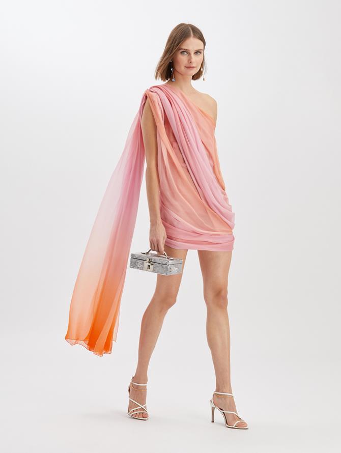 Silk Chiffon Wrap Dress Begonia/Orange
