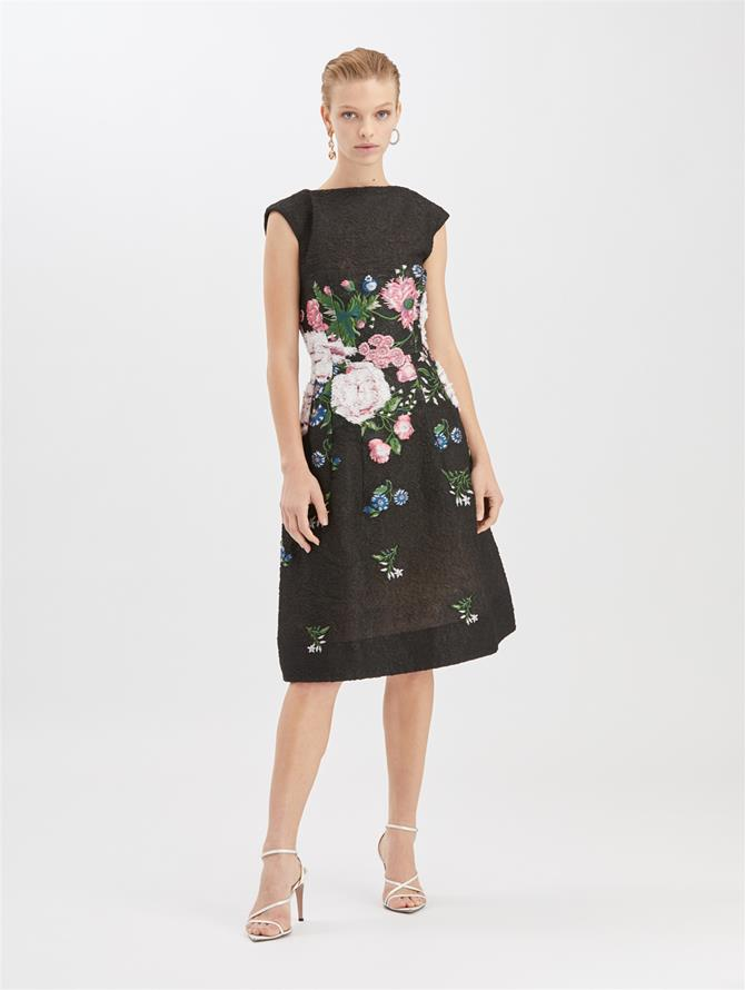 Botanical Jacquard Cocktail Dress