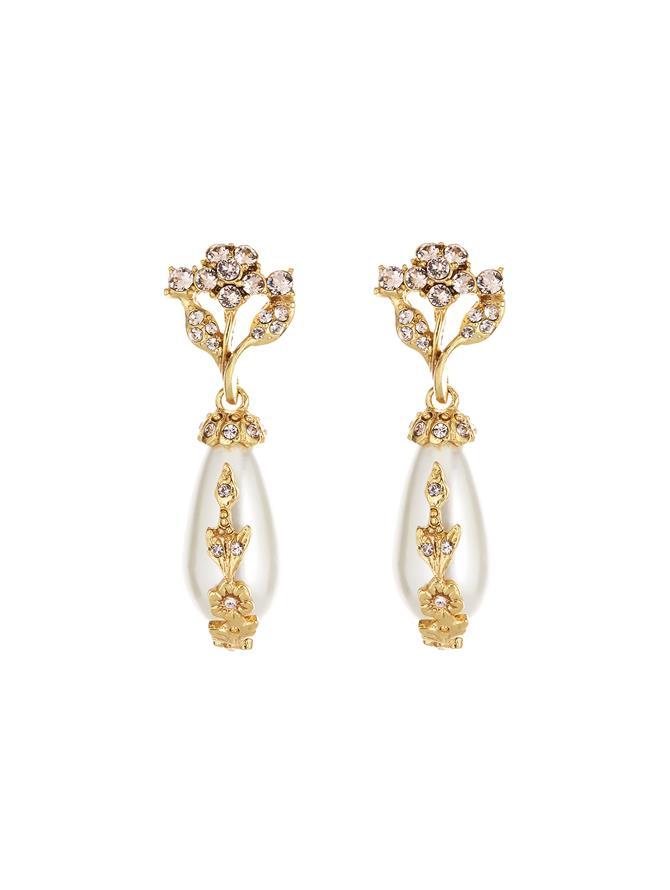 Jeweled Pearl Earrings