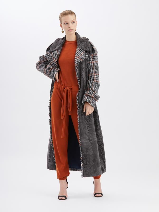 Herringbone and Lamb Coat