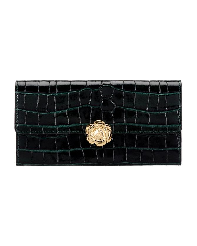 Green Croc-embossed Continental Wallet Green