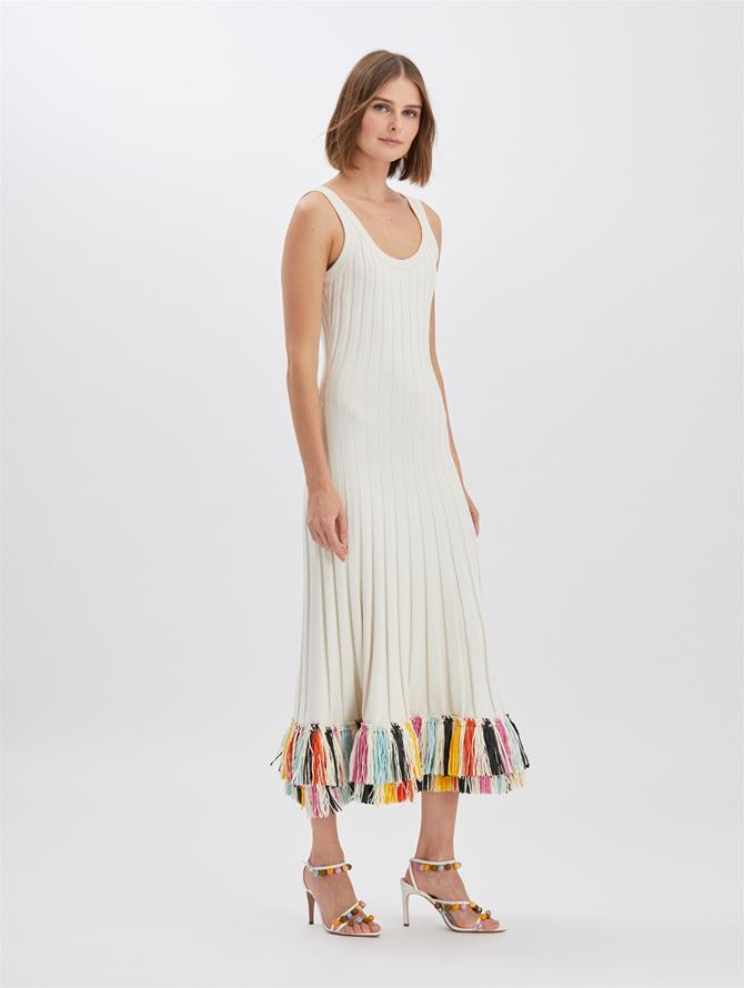 Raffia-Embroidered Knit Dress Ivory