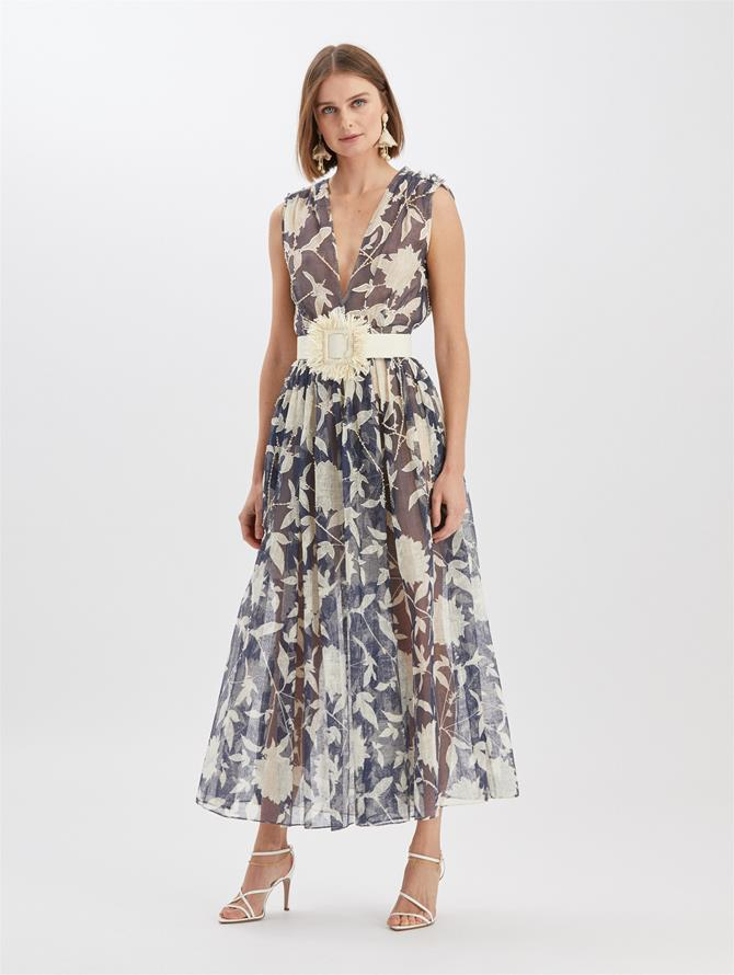 Embroidered Silk Leno Dress Navy