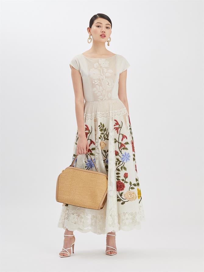 Embroidered Lace Dress Ecru