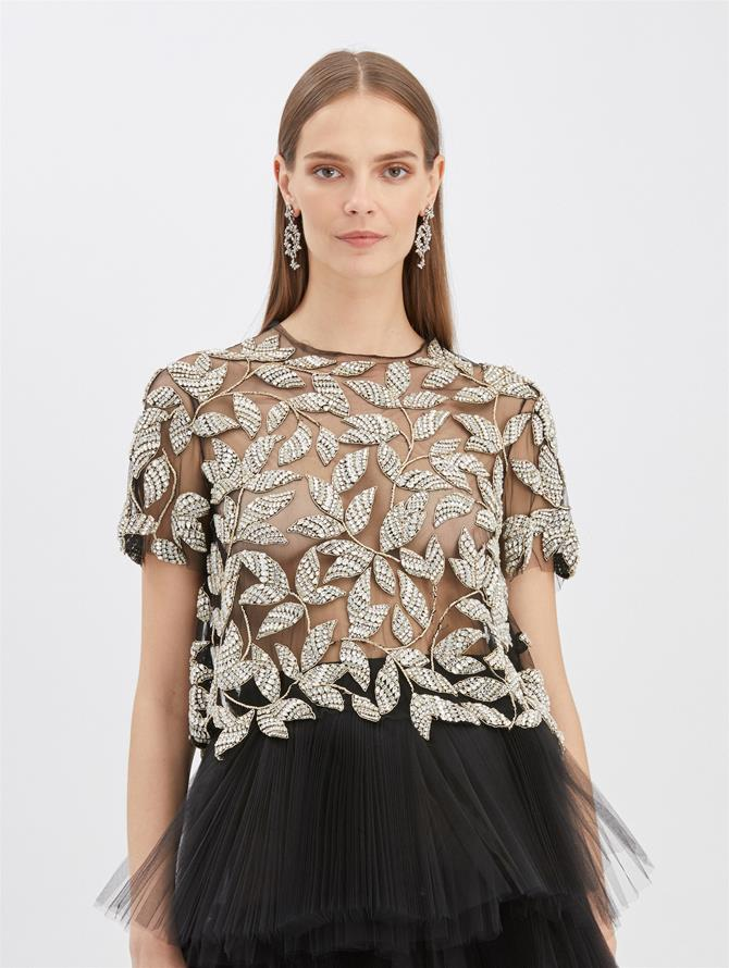 Beaded Tulle Blouse